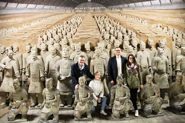 A happy family at Terracotta Warrior