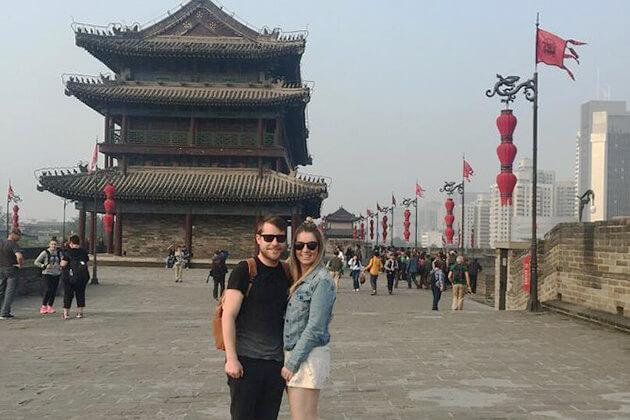 City Wall exploring in China vacation