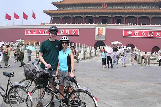 Cycling around Tiananmen Square