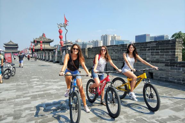 Cycling around Xi'an City Wall in China adventure tour