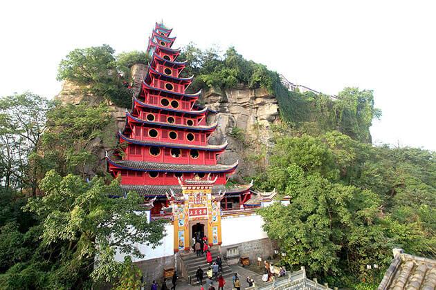 Majestic view of Shibaozhai Pagoda