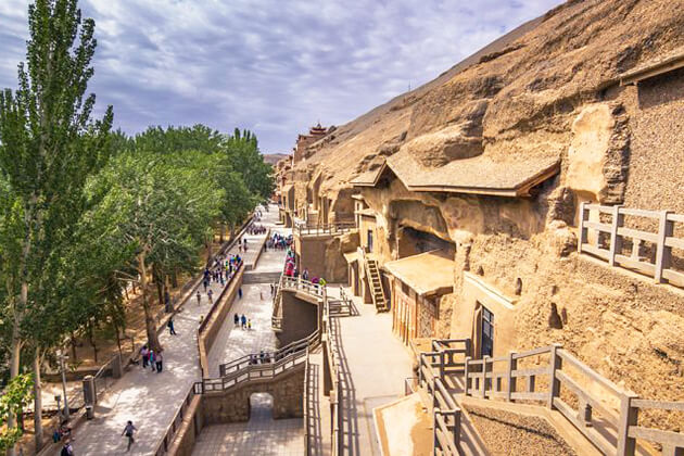 Paranomic view of Mogao Caves in China